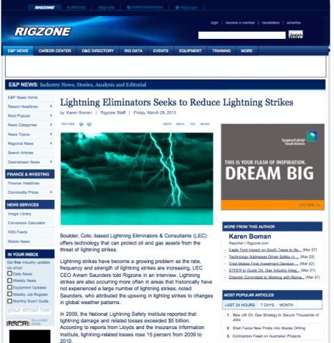 Learn Why The Houston Chronicle, RigZone and Oil & Gas Financial Journal Are Paying So Much Attention to the Risk Posed by Lightning