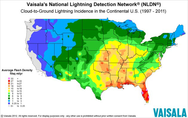 Increased lightning in the USA